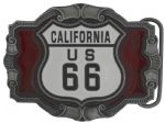 US 66 Route Mother Road Belt Buckle with display stand. Code DB6